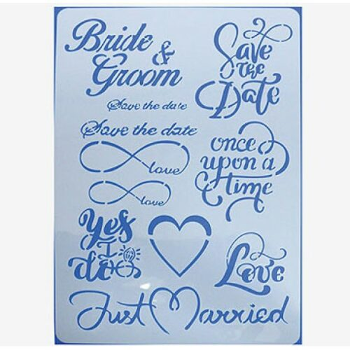 Stencil bride and groom