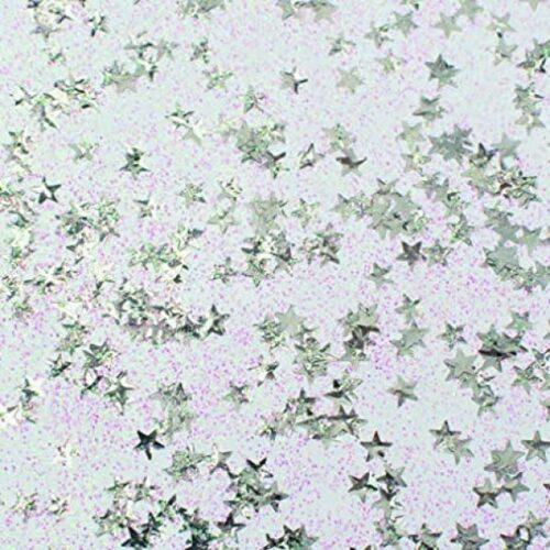Χρυσόκολλα glitter ασημί με αστεράκια