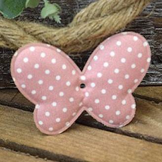 Υφασμάτινη διακοσμητική πεταλούδα ροζ πουά (8cm)