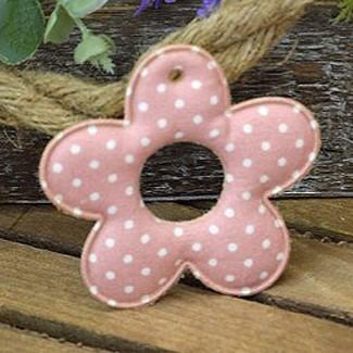 Υφασμάτινη διακοσμητική μαργαρίτα ροζ πουά (8cm)