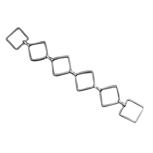 Χειροποίητη ασημί αλυσίδα με ρόμβους
