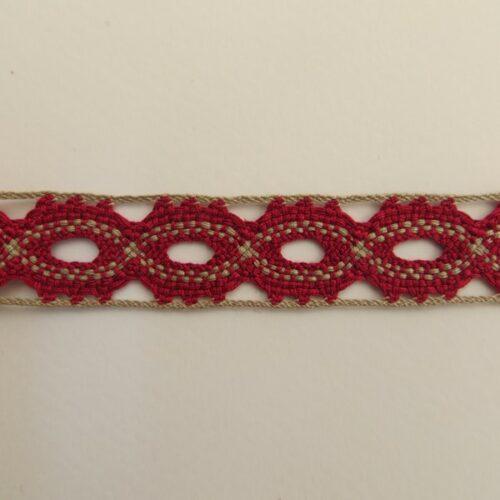 Δαντέλα βαμβακερή 20mm δίχρωμη κόκκινο-μπεζ, 1m