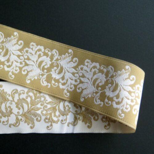 Κορδέλα κεντημένη 40mm διπλής όψεως λευκό-ivoire, 1m