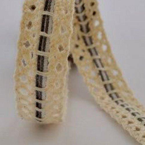 Κορδέλα-δαντέλα με ριγέ κορδόνι 6mm γκρι, 1m